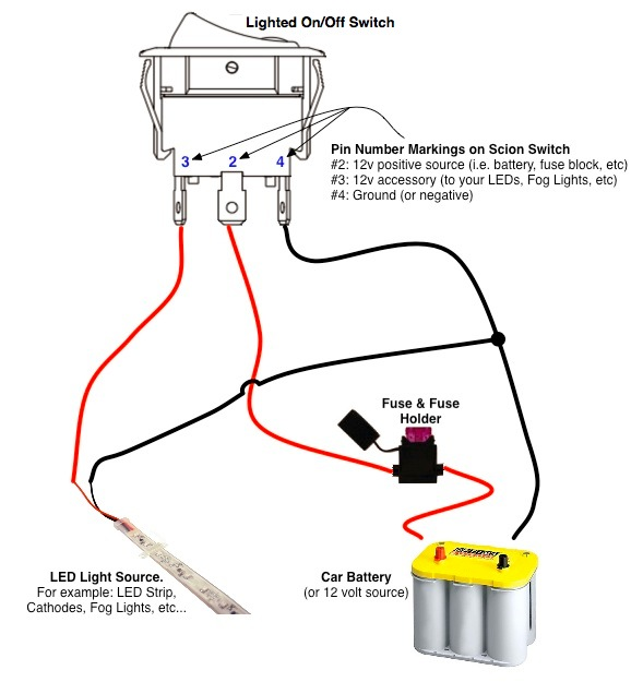 wiring 12v switch with three prongs