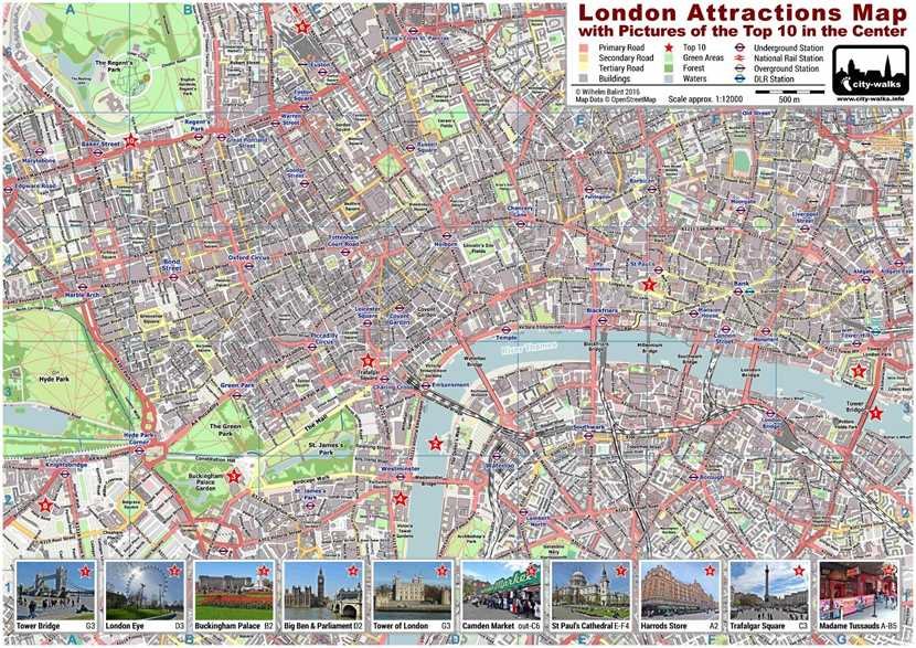 London Attractions Map - PDF Printable on A4  A3