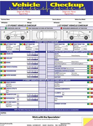Vehicle Checkup Multi-Point Inspection Forms - vehicle inspection form