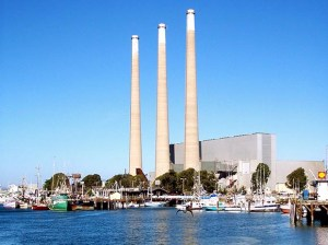The exhaust stacks of the Dynegy Power Plant, stand over Morro Bay. On Feb. 24 the Houston-based company withdrew its offer to sell the site, along with plants in Oakland and Moss Landing. (Courtesy photo)