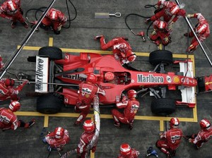 Team Ferrari's Michael Schumacher makes a pitstop at the Formula One Grand Prix of China. (Bloomberg News file photo)