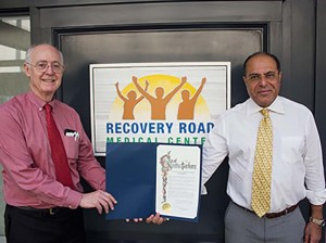 The city of Santa Barbara honored Recovery Road Medical Center co-founders Dr. Joseph Frawley, left, and Dr. Sherif El-Asyouty to celebrate the company's 10-year anniversary.