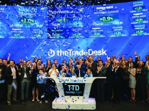 The Trade Desk employees and family members celebrate ringing the Nasdaq bell Sept. 21.