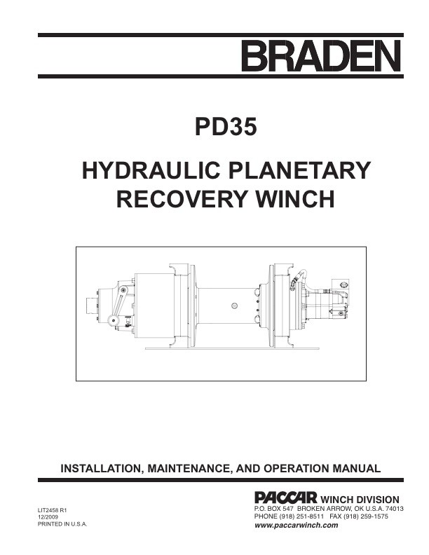 PD35A Installation, Maint and Operation Manual - Braden - Brand - operation manual