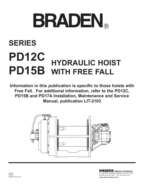 Braden - PD12C and PD15B Hydraulic Hoist with Free Fall Operation Manual - operation manual