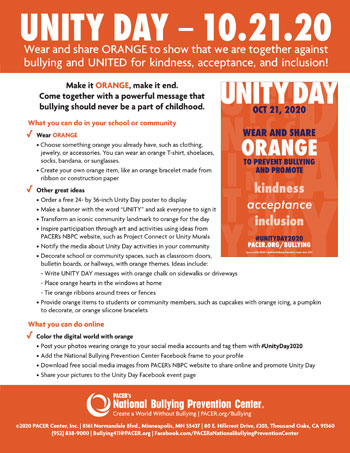 Unity Day -Wednesday, October 23, 2019- National Bullying Prevention