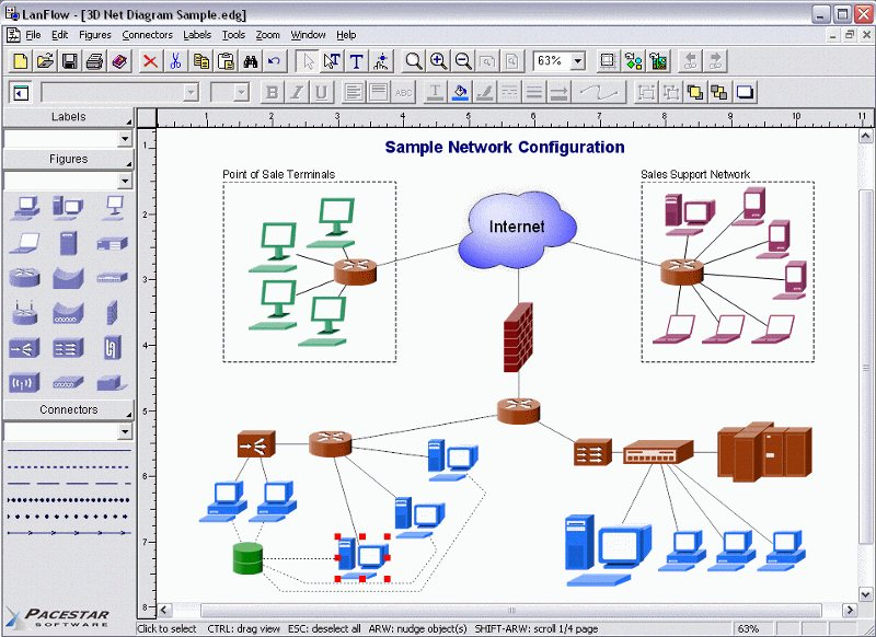 LAN diagram software - LanFlow lets you create local area network