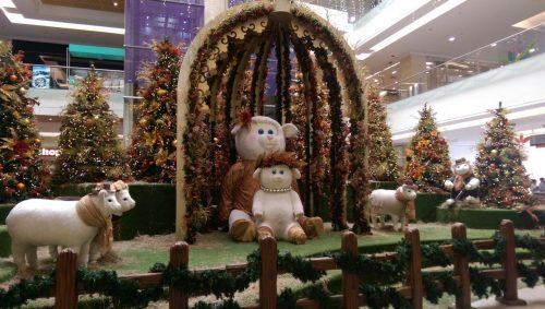 Nativity scene in Medellin shopping mall