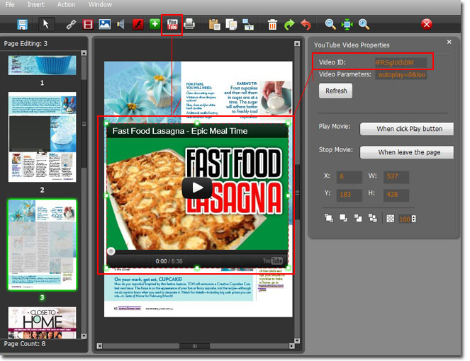 How to make a PDF to flash flipping catalog with video in it?
