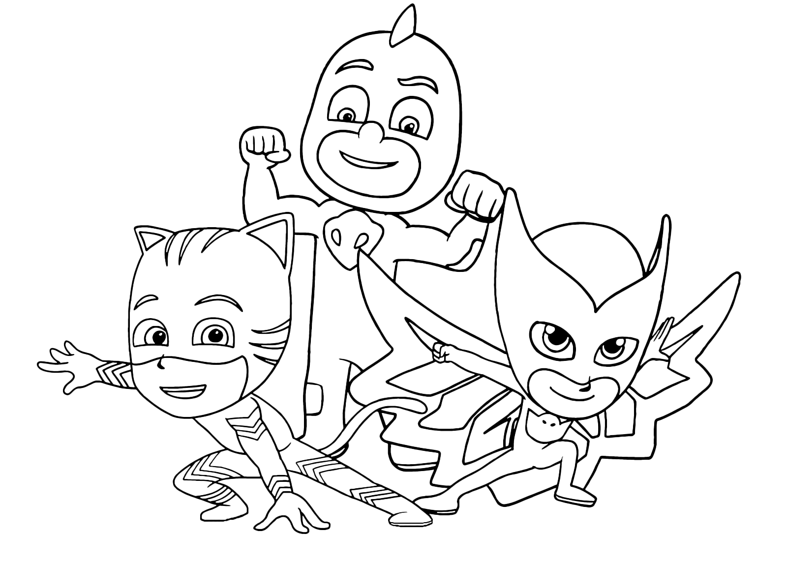 Printable coloring pages pj masks - Printable Coloring Pages Pj Masks Pj Masks Team Ready To Defend The City Download