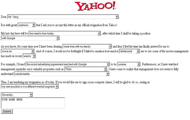 A Yahoo! Resignation Letter Generator\u0027! Hold on to Your Funny Bone