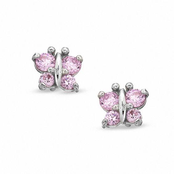 Child's Pink Cubic Zirconia Butterfly Stud Earrings in 10K