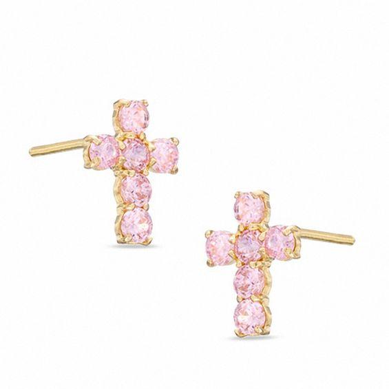 Pink Cubic Zirconia Cross Stud Earrings in 10K Gold