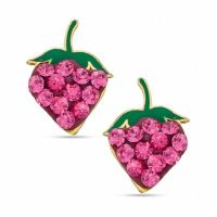 Pink Cubic Zirconia Strawberry Stud Earrings in 10K Gold