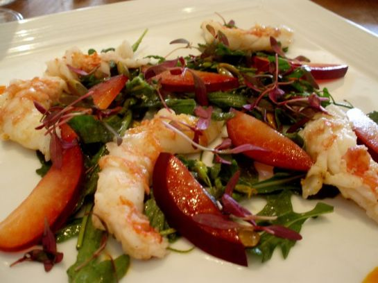 Santa Barbara Spot Prawns with Wild Aurgula and Plums