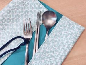 環保 餐具套 餐墊 林口 龜山 泰山 中和 桃園 手作 裁縫  機縫 縫紉 環保二用防水餐具套及餐墊