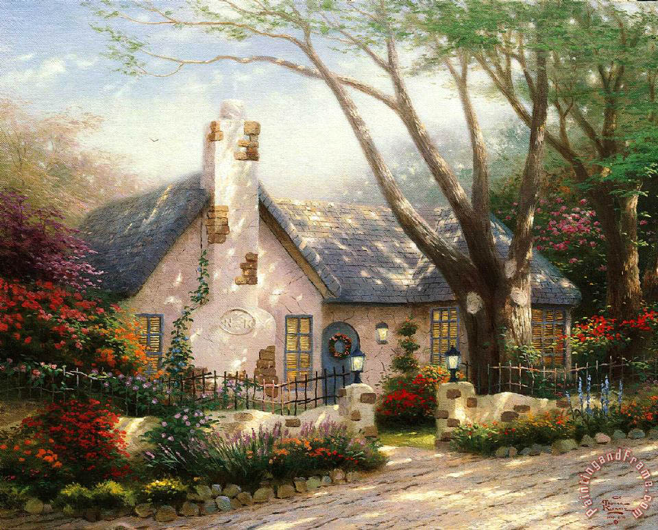 American Paint And Wallpaper Fall River Thomas Kinkade Morning Glory Cottage Painting Morning