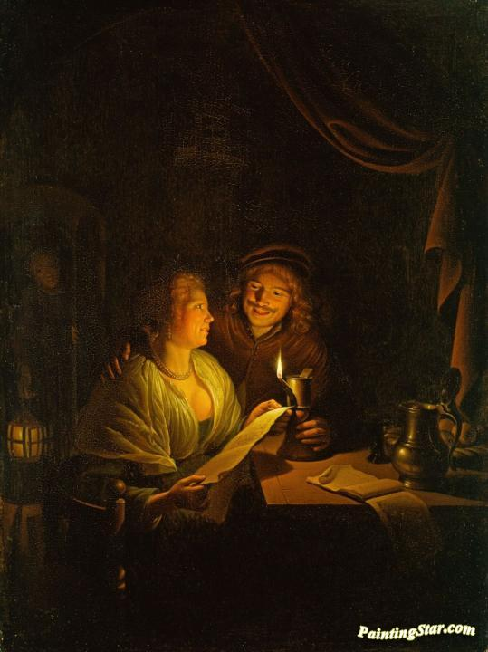 Doctor Girl Wallpaper A Couple Reading By Candlelight Artwork By Gerrit Dou Oil