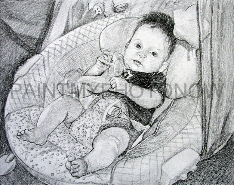 Black pencil drawings of babies Pencil drawings of children
