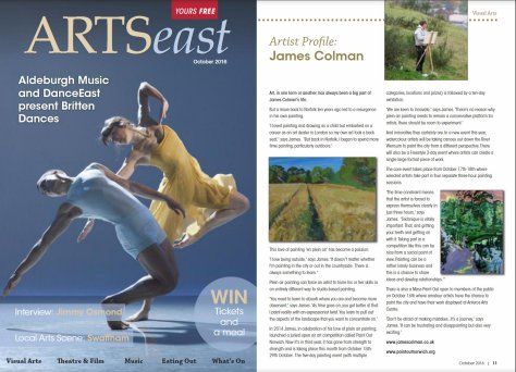 Arts East, Artist Profile - James Colman, October 2016