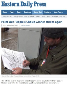 Paint Out People's Choice winner strikes again, EDP, 14 November 2015