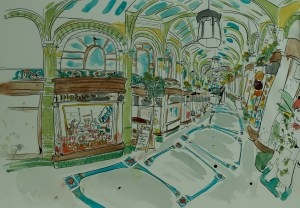 Artist Eloise O'Hare - Chocolate Arcade 18x26.5 Pen, Ink & Watercolour on Paper at Paint Out Norwich 2015 photo by Mark Ivan Benfield
