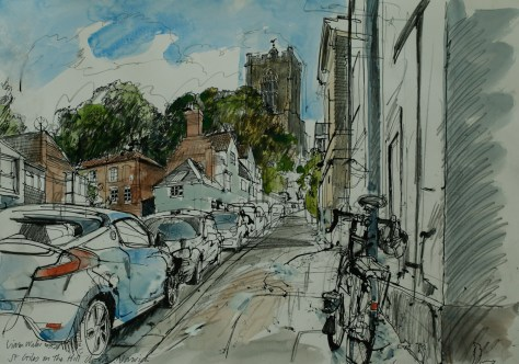 Artist Liam Wales - St Giles on the Hill 16x24 Ink, Watercolour & Charcoal on Paper at Paint Out Norwich 2015 photo by Mark Ivan Benfield