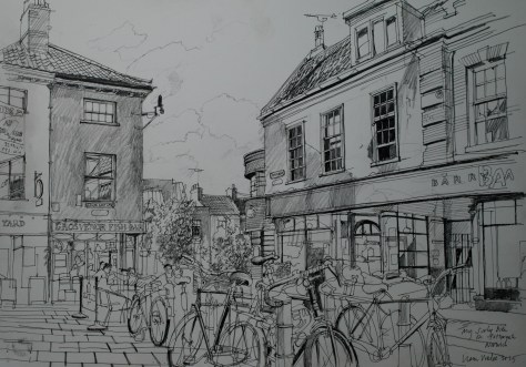 Artist Liam Wales - My Surly Bike on Pottergate, £750 16x24 Ink & Charcoal on Paper at Paint Out Norwich 2015 photo by Mark Ivan Benfield
