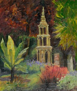 Artist Karen Adams - Plantation Gardens 10x12 Oil on Board at Paint Out Norwich 2015 photo by Mark Ivan Benfield