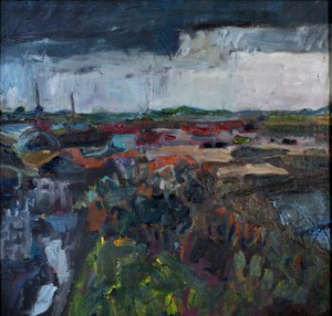 Artist Jack Godfrey 'Up (and Down) the Creek', Brancaster Staithe, £480 Oil, 60 x 60 cm (Paint Out Wells 2016) photo by Katy Jon Went