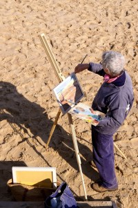 Artist Mary MacCarthy at Paint Out Wells 2015 sunrise