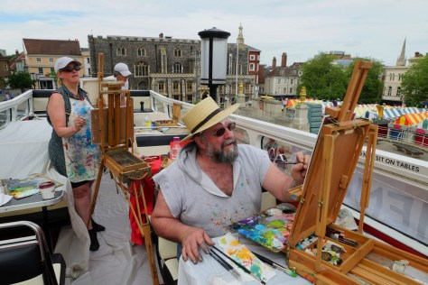 Paint Out artists on the bus Mary Brady and John Behm