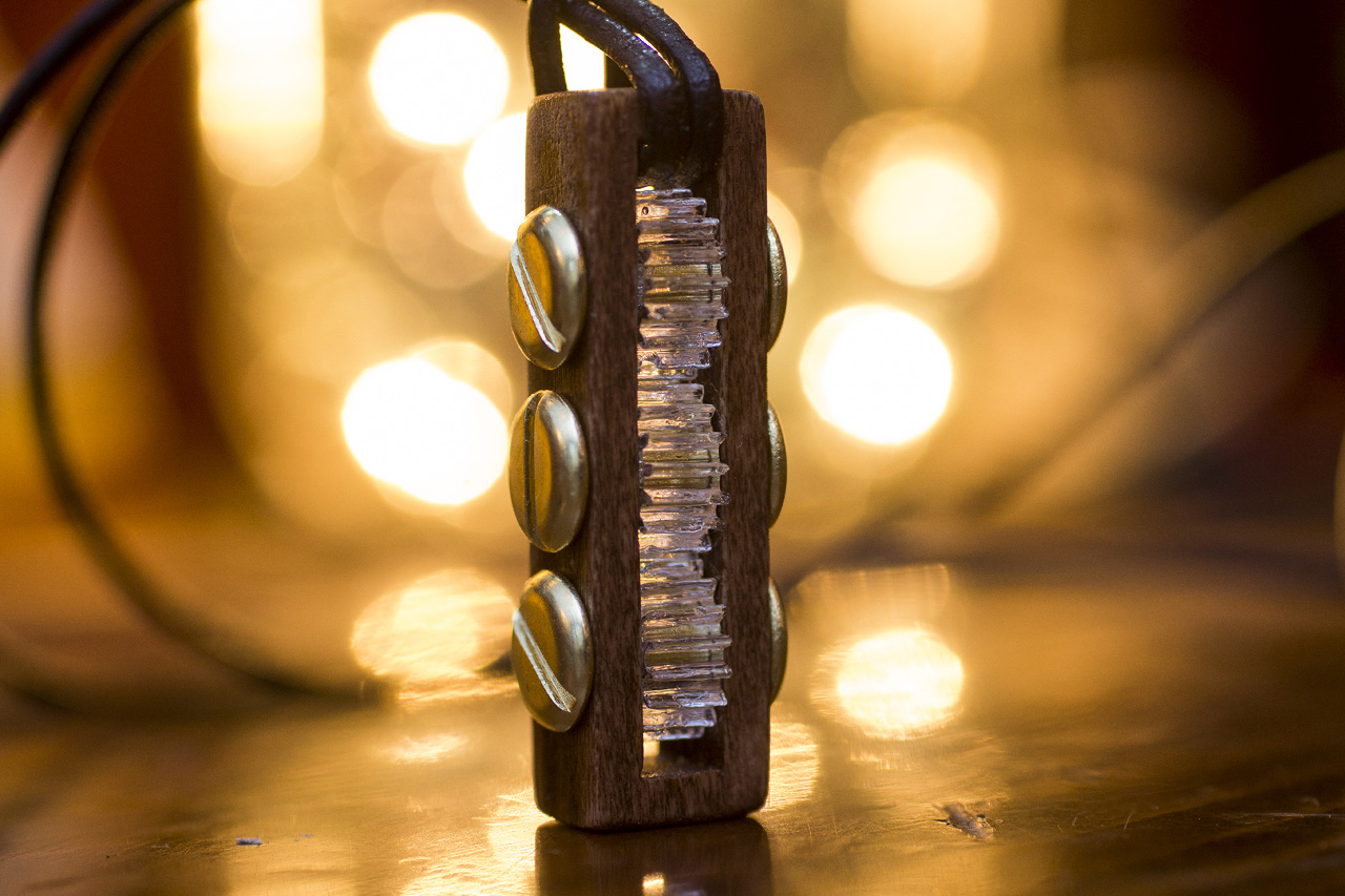 Steampunk Poplar and Acrylic Clockwork Gear Pendant