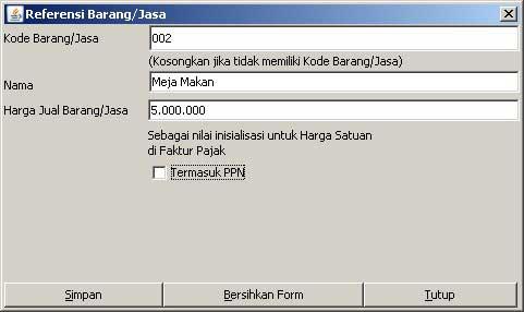 Program e-Faktur - Referensi Barang / Jasa