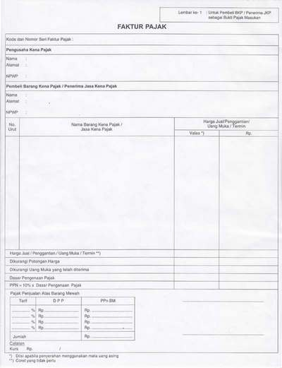 contoh kertas faktur pajak