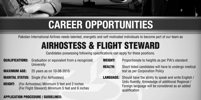 Pia Karachi Air Hostess Flight Steward Jobs 2016 April