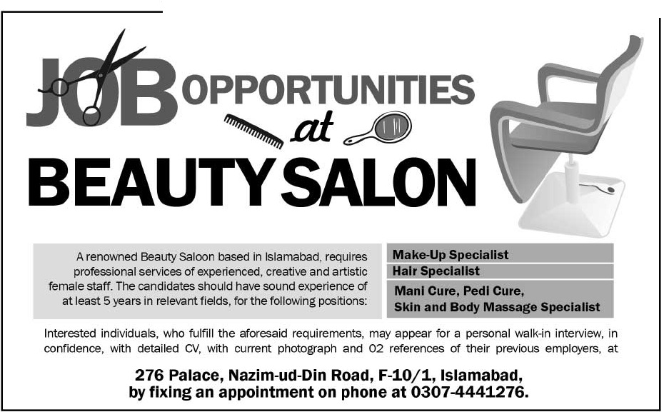 Beauty Salon Islamabad Requied Staff 2018 Others Companies Jobs in