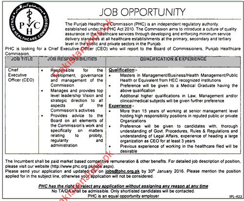 Chief Executive Officer (CEO) Required 2018 Punjab Health Commission