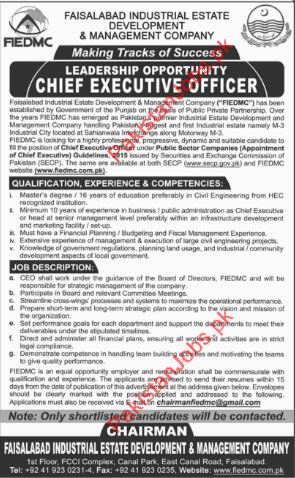 FIEDMC Urgently Required Chief Executive Officer In Faisalabad 2018