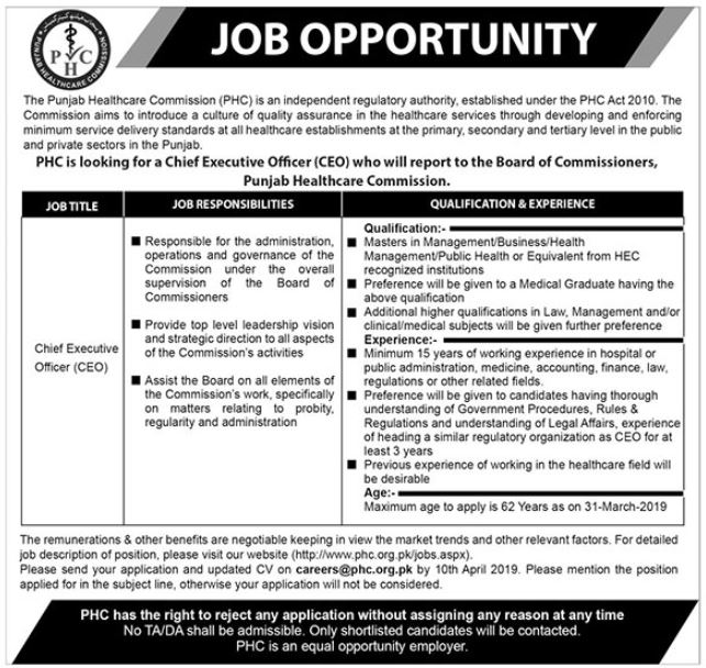 Punjab Health Commission PHC Chief Executive Officer Job in Lahore