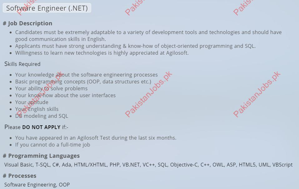Agilosoft Software Engineer Jobs 2019 2019 Agilosoft Pvt Ltd Jobs in