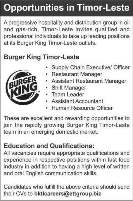 cv for job of burger king