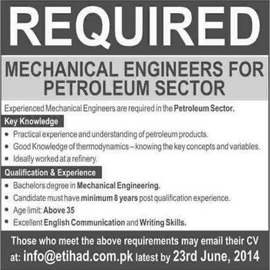 Mechanical Engineering Jobs in Pakistan 2014 June for Oil \ Gas - petroleum engineer job description