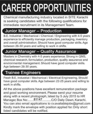 Production / Quality Assurance Managers  Trainee Engineer Jobs in - chemical engineer job description