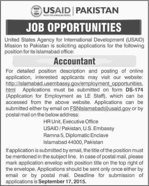 Accountant Jobs in USAID Islamabad Jobs 2015 September Application
