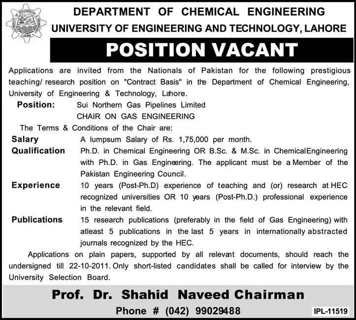 Department of Chemical Engineering Position Vancant in Lahore - chemical engineering job description