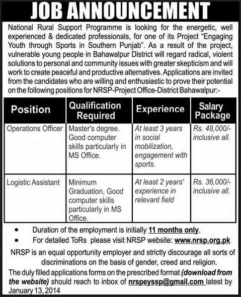 National Rural Support Programme Jobs 2014 in Bahawalpur for