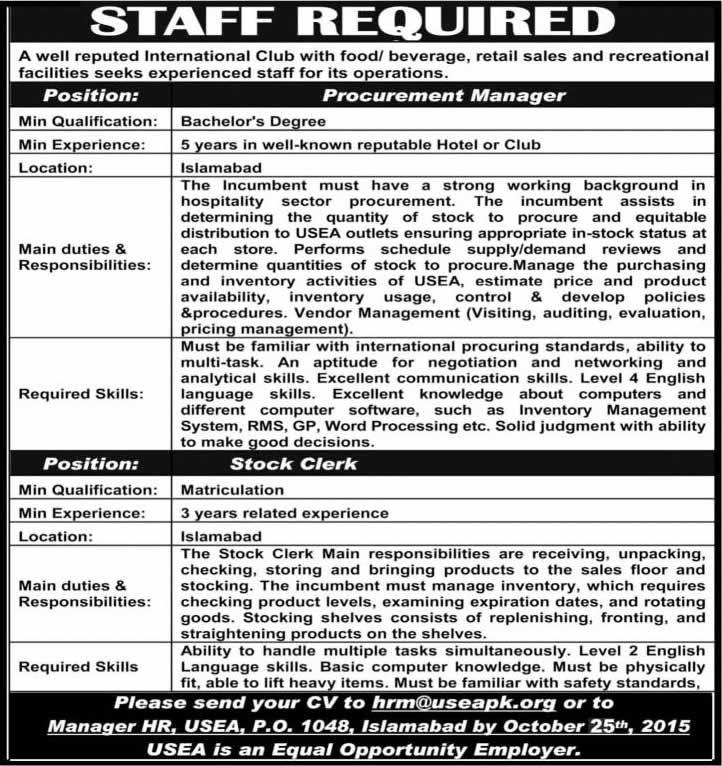 United States Employee Association Islamabad Jobs 2015 October - stock clerk job description