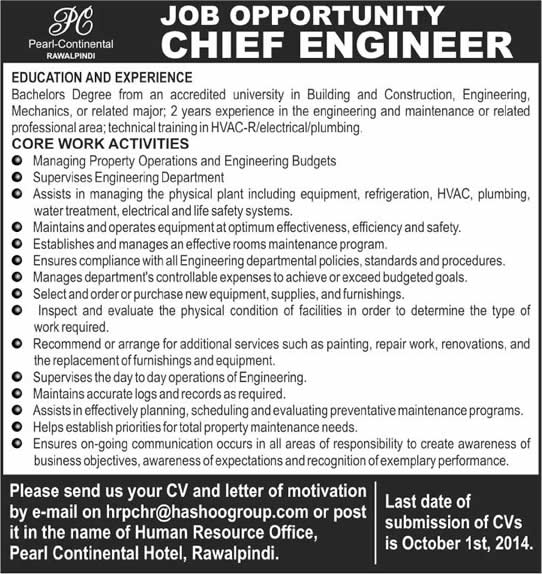 Chief Engineer Jobs in Pakistan 2014 at Pearl Continental Hotel