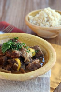 Moroccan Stew With Beef Heart, Apricots Spices, And Lemons.